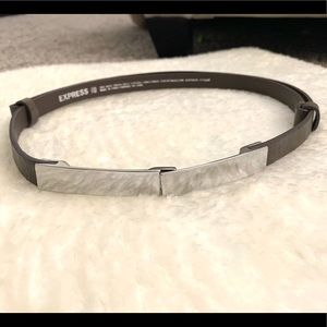 EXPRESS Taupe Gray & Silver Adjustable Waist belt